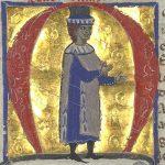 Peire Vidal, con su nombre encima, representado en un cancionero del siglo XIII.