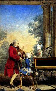 Acuarela de la familia Mozart durante su gira (1763-66): Leopold interpretando con el violín, Wolfgang Amadeus al clavecín y Nannerl, cantando.