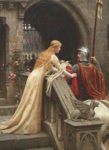 La dama ata una banda roja alrededor del brazo del caballero antes de partir a la batalla, el cual está destinado a regresar sano y salvo junto a su amada.