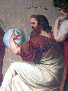 Anaxágoras, fragmento del mural pintado por Eduard Lebiedzki sobre un dibujo de Carl Rahl, en la Universidad de Atenas.