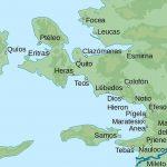 Mapa con algunas de las antiguas ciudades griegas en Jonia, donde se aprecia la ubicación de Clazómenas, lugar de nacimiento del filósofo presocrático.