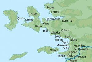 Mapa con algunas de las antiguas ciudades griegas en Jonia, donde se aprecia la ubicación de Clazómenas, lugar de nacimiento de Anaxágoras.