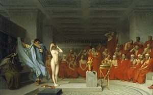Friné ante el areópago (1861), obra de Jean-Léon Gérôme en el museo Hamburg Kunsthalle.