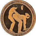 Cliente y hetaira manteniendo sexo anal representado en un kílix (copa típica de la cerámica griega clásica, semejante a un cáliz, para beber vino) de figuras rojas.