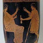 Cortesana recibiendo a uno de sus clientes representados en un lécito (recipiente utilizado para almacenar aceite o pomadas) ático de figuras rojas.