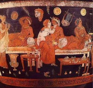 Vaso griego con la representación de un banquete. (Las cerámicas proporcionan un testimonio muy preciado sobre la vida cotidiana de las prostitutas en aquel tiempo).