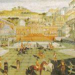 Dibujo moderno recreando una plaza pública en el corazón de la capital de la Atlántida.