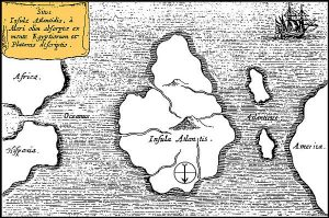 Mapa del científico y erudito Athanasius Kircher mostrando una supuesta ubicación de la Atlántida. ('Mundus Subterraneus', 1669).