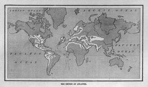 Mapa del Imperio atlante. De 'Atlantis: The Antediluvian World', libro del escritor, abogado y político estadounidense Ignatius L. Donnelly, 1882.