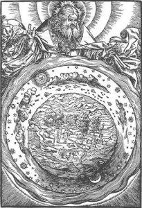 El modelo geocéntrico según la Biblia de Martín Lutero.