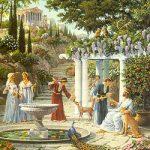 Rodeados de animales salvajes que nada temían de los seres humanos, los atlantes disfrutaban de un clima suave y de una vida de ocio paseando entre los jardines de sus grandes mansiones.