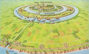 Aspecto general que tendría (según los relatos de Platón) la ciudad central de la Atlántida, donde todos los canales eran navegables.