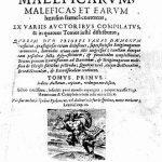 Portada del 'Malleus maleficarum' en una impresión de 1669. Probablemente, por su exhaustividad, el tratado más importante que se haya editado en el contexto de la persecución de herejes y la histeria brujeril del Renacimiento. Después de ser publicado en Alemania en 1487, le siguieron docenas de nuevas ediciones, se difundió por Europa y tuvo un profundo impacto en los juicios contra las brujas en el continente por cerca de dos siglos.