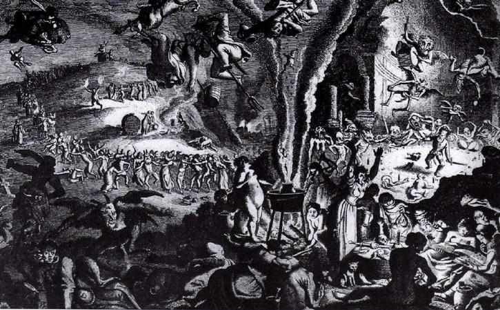 Reunión nocturna de brujos y brujas