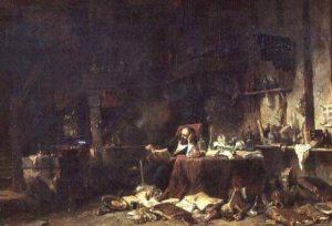 Interior de un gabinete de alquimista (Isabey Lille).