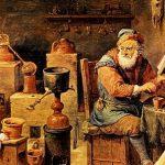 Representación del pintor flamenco David Teniers el Joven (1610-1690) de un alquimista y su laboratorio.