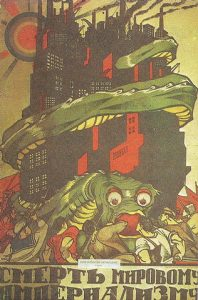 Propaganda comunista que presenta al capital como un gigantesco monstruo devorador.