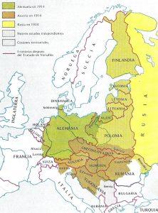 Mapa de la reorganización europea tras el Tratado de Versalles (1919).