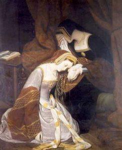 Ana Bolena en la Torre de Londres. Reina consorte de Inglaterra por su matrimonio con Enrique VIII.