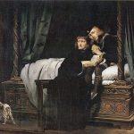 (Eduardo V y el duque de York en la Torre de Londres, por Paul Delaroche). El duque de Gloucester, con el apoyo del Parlamento británico, procedió a declarar que sus sobrinos e hijos del difunto rey eran bastardos, coronándose así como Ricardo III. De los jóvenes príncipes nadie volvió a saber, ya que se prohibió a su madre Isabel visitarlos, al igual que a todos los que tenían relación con ellos, pero desde siempre la historia ha sospechado que Ricardo los mandó asesinar. En 1674, durante el reinado de Carlos II, trabajadores descubrieron los cuerpos de dos pequeños en la Torre. Los ingleses, creyendo que eran sus huesos, les dieron un entierro real.