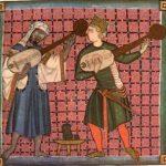 Juglares representados en las Cantigas de Alfonso X el Sabio, una de las colecciones de canción monofónica más importante de la literatura medieval occidental.