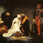 Preparación para la ejecución (según Paul Delaroche) de Juana de Inglaterra (1537-1554), segunda mujer en acceder al trono inglés (durante nueve días en 1553) después de la bajomedieval reina Matilde.