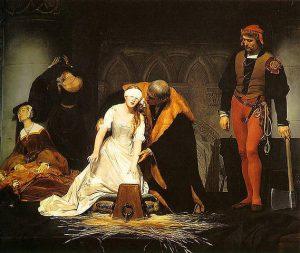 Preparación para la ejecución (según Paul Delaroche) de Juana de Inglaterra (1537-1554), segunda mujer en acceder al trono inglés (durante nueve días en 1553).