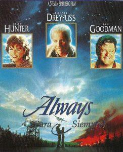 'Always' es un filme dirigido por Spielberg en 1989. Audrey Hepburn aparece en un pequeño papel. Fue su última película antes de retirarse del cine como embajadora de Unicef.