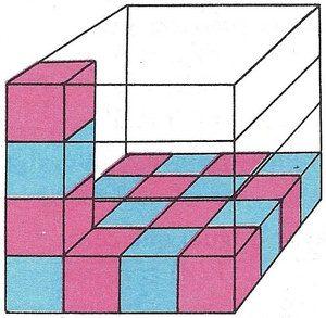 Representación gráfica del volumen de un cubo de 4 cm de arista.