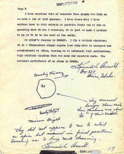 Dibujo realizado por Arnold (1915-1984), que aseguró haber visto nueve objetos inusuales volando en cadena durante aproximadamente tres minutos cerca del monte Rainier.