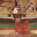 Isis, diosa de la mitología egipcia, representada en una pintura de 1360 a. C. abriendo sus brazos para bendecir a sus devotos e hijos. Los primeros cristianos a veces rendían honores a las estatuas de Isis amamantando al niño Horus, viendo en ello un rito antiguo y noble acerca de como por medio de la mujer (es decir, el principio femenino) se crearon todas las cosas.