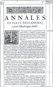 Primera página de 'Los anales del Antiguo Testamento', libro escrito por el arzobispo irlandés James Ussher que deduce los orígenes primeros del mundo, de 1650.
