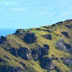 """El conjunto arqueológico de Orongo se encuentra ubicado en la parte suroeste del volcán Rano Kau, en una estrecha franja entre el borde del cráter que rodea la laguna y el precipicio que baja casi perpendicularmente al mar, frente a los islotes Motu Nui, Motu Iti y Motu Kao Kao. La aldea de Orongo era habitada de manera estacional por los jefes y personajes principales de las antiguas tribus, que esperaban recoger el primer huevo sagrado del pájaro """"manutara"""" en los meses de la primavera. Se trataba de una celebración de origen religioso, en honor del dios creador Make-Make. Su culto fue suprimido por misioneros cristianos, que consideraron esta práctica contraria a la fe católica, datando en 1867 la última ceremonia celebrada."""