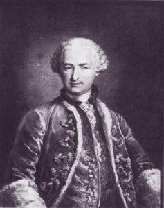 Grabado del conde de St. Germain hecho por Nicolas Thomas en 1783. Desde el siglo XIX hasta hoy su figura ha sido mitificada y fundida en la leyenda.