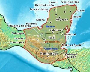 Extensión territorial máxima de la civilización maya que ocupó una amplia región que incluía el sureste de México y el norte de América Central.
