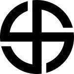 """Emblema de la sociedad Thule cuyo principal interés fue una reivindicación sobre los orígenes de la raza aria y el deseo de demostrar que procedía de un continente perdido, quizá la Atlántida. Thule era un país situado por los geógrafos grecorromanos en el más lejano norte. La sociedad fue bautizada en honor a la Ultima Thule (en latín: """"el norte más distante""""), mencionada por el poeta romano Virgilio en su poema épico 'Eneida', que era la porción más al norte de Thule y se suele asimilar a Escandinavia, que los ariosofistas identificaban con la mítica Hiperbórea, el lugar primigenio de la raza. Los thulistas creían igualmente en la teoría intraterrestre. Muchas de sus ideas encontraron también el favor de Heinrich Himmler, que al igual que Hitler, tenía un gran interés por el ocultismo."""