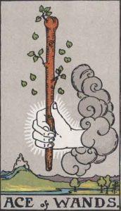 As de bastos según el simbolismo de Rider-Waite.