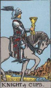 Caballo de copas según el simbolismo de Rider-Waite.