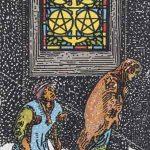 Cinco de oros según el simbolismo de Rider-Waite.