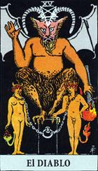 El diablo, según el tarot Rider-Waite.