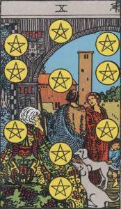 Diez de oros según el simbolismo de Rider-Waite.