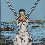 Dos de espadas según el simbolismo de Rider-Waite.