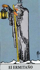El ermitaño, según el tarot Rider-Waite.