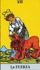 La fuerza, según el tarot Rider-Waite.
