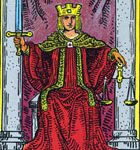 La justicia, según el tarot Rider-Waite.