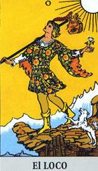 El loco, según el tarot Rider-Waite.