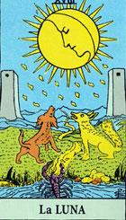 La luna, según el tarot Rider-Waite.
