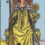 Reina de bastos según el simbolismo de Rider-Waite.