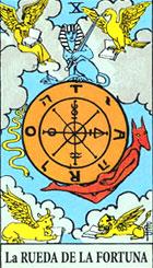 La rueda de la fortuna, según el tarot Rider-Waite.