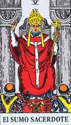 El sacerdote, según el tarot Rider-Waite.
